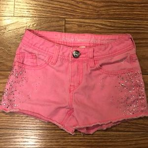 Justice Pink Rhinestone Jean  Shorts